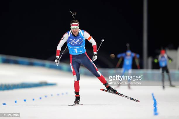 Emil Hegle Svendsen of Norway competes in the final leg during the Biathlon 2x6km Women 2x75km Men Mixed Relay on day 11 of the PyeongChang 2018...