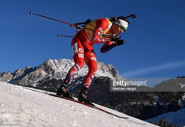 Emil Hegle Svendsen of Norway competes in the men's 10 km sprint event during the IBU Biathlon World Cup on December 12 2014 in Hochfilzen Austria