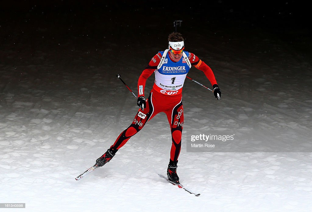 Emil Hegle Svendsen of Norway competes in the men's 12.5km pursuit event during the IBU Biathlon World Championships at Vysocina Arena on February 10, 2013 in Nove Mesto na Morave, Czech Republic.