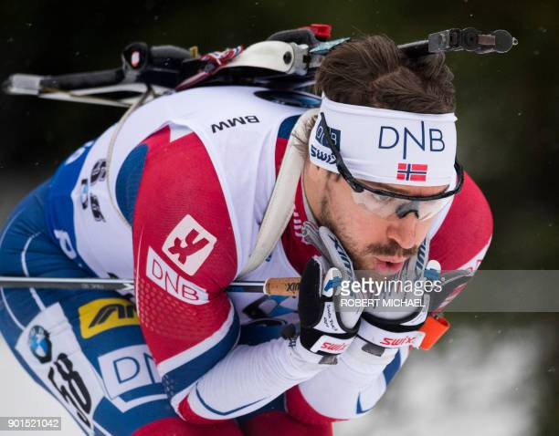 Emil Hegle Svendsen of Norway competes to place second during the men's 10 km sprint event at the IBU Biathlon World Cup in Oberhof central Germany...
