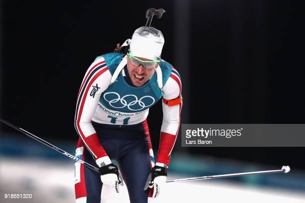 Emil Hegle Svendsen of Norway finishes during the Men's 20km Individual Biathlon at Alpensia Biathlon Centre on February 15 2018 in Pyeongchanggun...