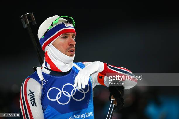 Emil Hegle Svendsen of Norway practices prior to the Biathlon 2x6km Women 2x75km Men Mixed Relay on day 11 of the PyeongChang 2018 Winter Olympic...