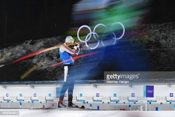 Emil Hegle Svendsen of Norway shoots prior to the Men's 4x75km Biathlon Relay on day 14 of the PyeongChang 2018 Winter Olympic Games at Alpensia...