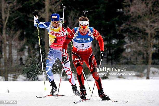 Emil Hegle Svendsen of Norway skies on his way to 1st place ahead of second placed Martin Fourcade of France during the IBU Biathlon World...
