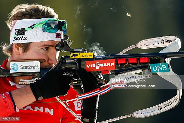 Emil Hegle Svendsen of Norway takes 1st place during the IBU Biathlon World Cup Men's and Women's Pursuit on December 20 2014 in Pokljuka Slovenia