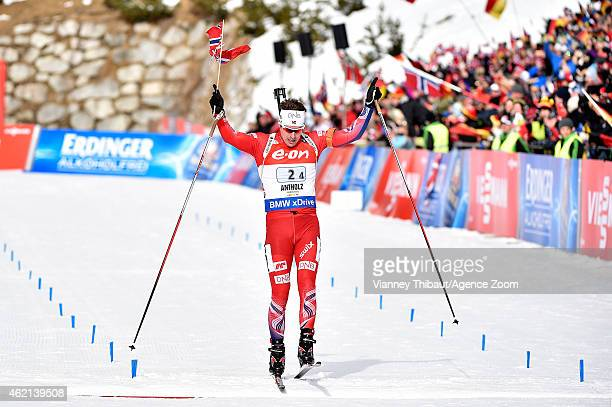 Emil Hegle Svendsen of Norway takes 1st place during the IBU Biathlon World Cup Men's and Women's Relay on January 25, 2015 in Antholz-Anterselva,...