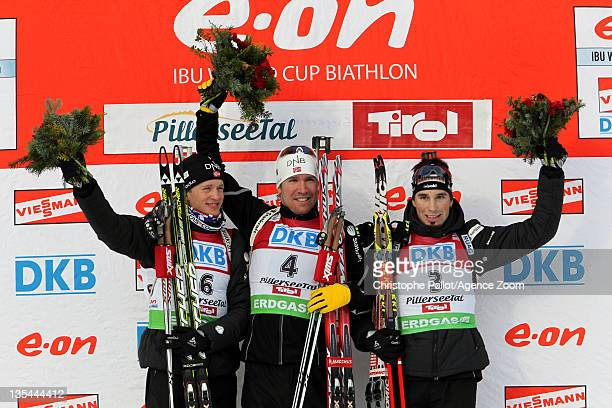 Emil Hegle Svendsen of Norway takes 1st place Tarjei Boe of Norway takes 2nd place Benjamin Weger of Switzerland takes 3rd place during the IBU...