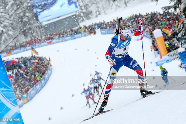 Emil Hegle Svendsen of Norway takes 2nd place during the IBU Biathlon World Cup Men's and Women's Pursuit on January 15 2017 in Ruhpolding Germany