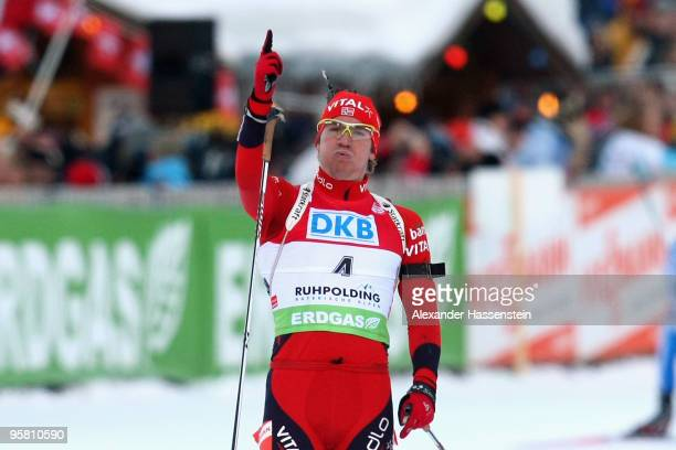 Emil Hegle Svendsen of Norway wins the Men's Mass Start in the e.on Ruhrgas IBU Biathlon World Cup on January 16, 2010 in Ruhpolding, Germany.