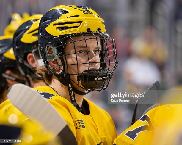 Emil Öhrwall of the Michigan Wolverines watches the action from the bench against the Michigan State Spartans during the third period of the annual...