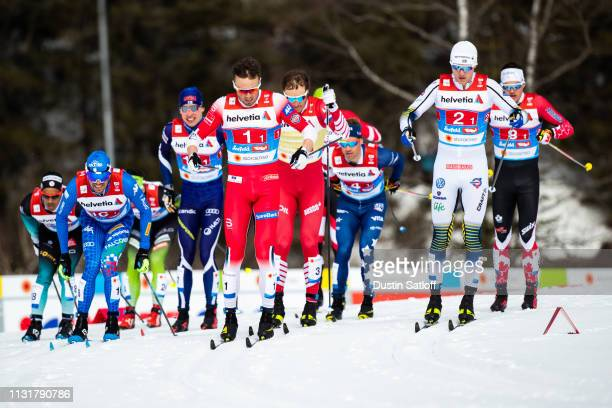 Emil Iversen of Norway and Viktor Thorn of Sweden compete in the Cross Country Men's Team Sprint race during the FIS Nordic World Ski Championships...