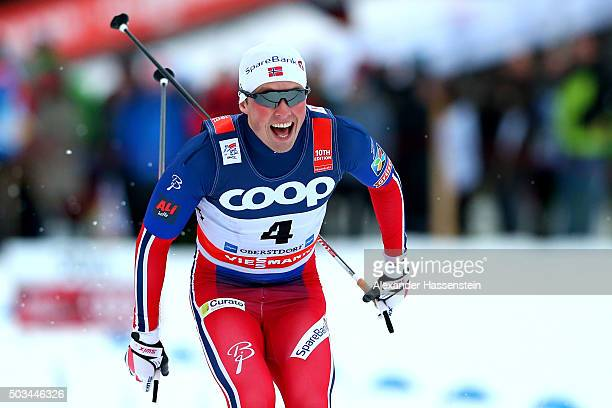 Emil Iversen of Norway celebrates winning the Mens 1.2km Classic Sprint Competition during day 1 of the FIS Tour de Ski event on January 5, 2016 in...