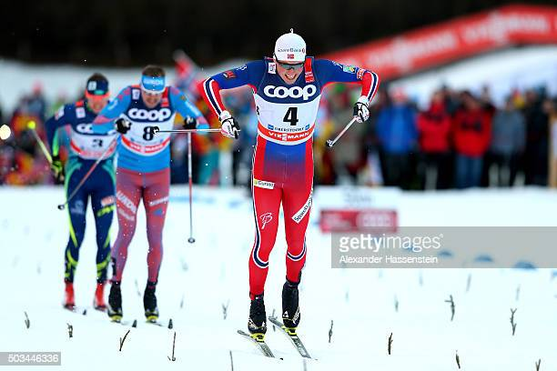 Emil Iversen of Norway celebrates winning the Mens 12km Classic Sprint Competition during day 1 of the FIS Tour de Ski event on January 5 2016 in...