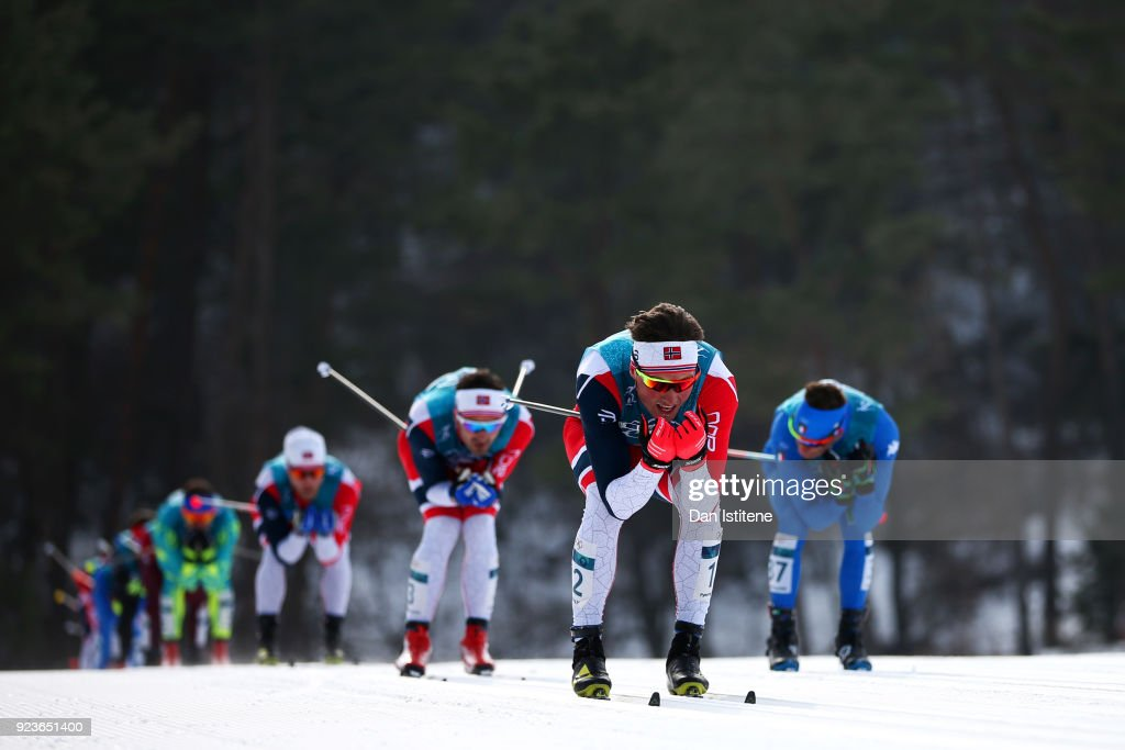 Emil Iversen of Norway competes during the Men's 50km Mass Start Classic on day 15 of the PyeongChang 2018 Winter Olympic Games at Alpensia Cross-Country Centre on February 24, 2018 in Pyeongchang-gun, South Korea.