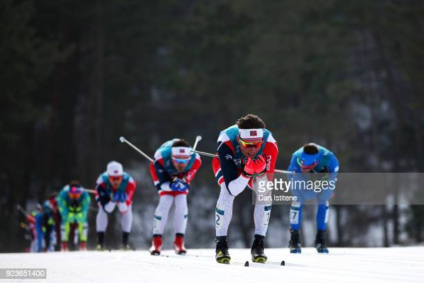 Emil Iversen of Norway competes during the Men's 50km Mass Start Classic on day 15 of the PyeongChang 2018 Winter Olympic Games at Alpensia...
