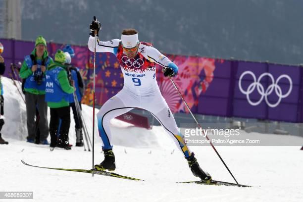 Emil Joensson of Sweden wins the bronze medal during the CrossCountry Men's Women's Sprint at the Laura Crosscountry Ski Biathlon Center on February...