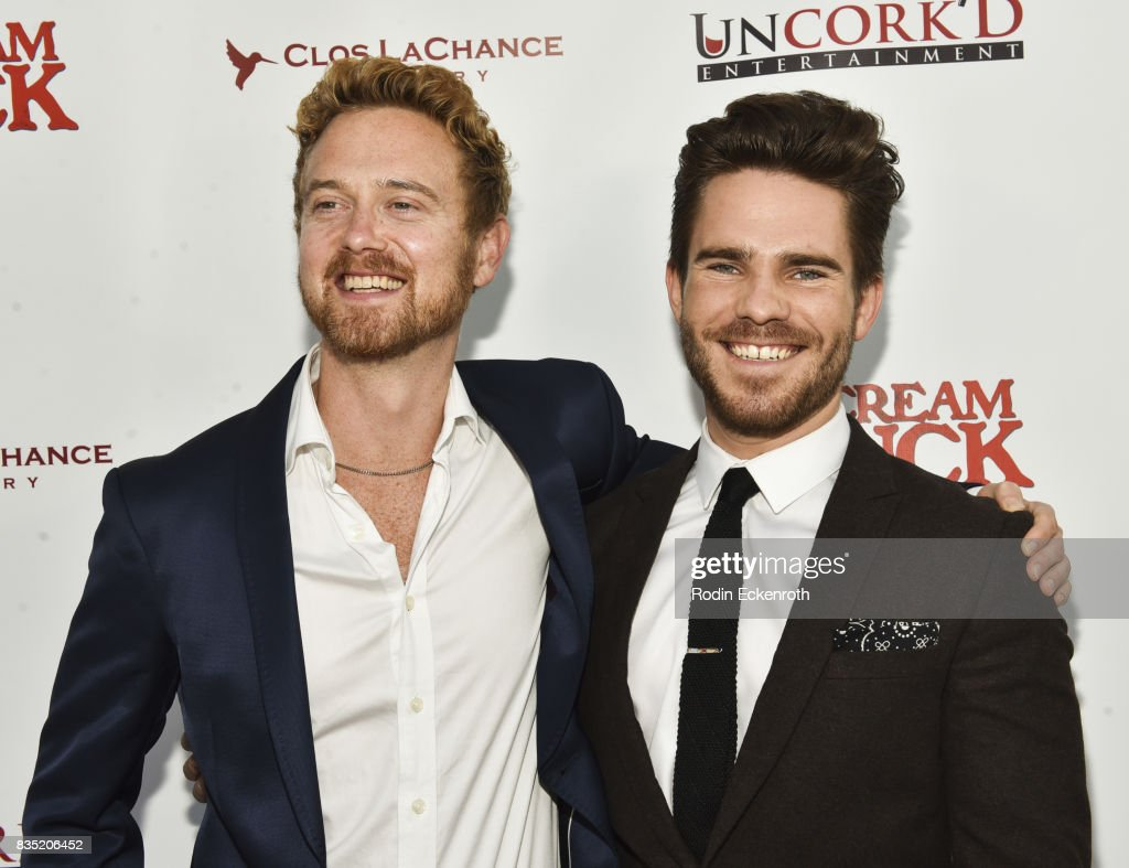 Emil Johnsen (L) and John Redlinger attend the premiere of Uncork'd Entertainment's 'The Ice Cream Truck' at Ahrya Fine Arts Movie Theater on August 17, 2017 in Beverly Hills, California.