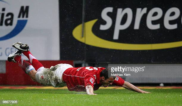 Emil Jula of Cottbus celebrates after scoring the fourth goal during the Second Bundesliga match between FC Energie Cottbus and 1.FC Union Berlin at...