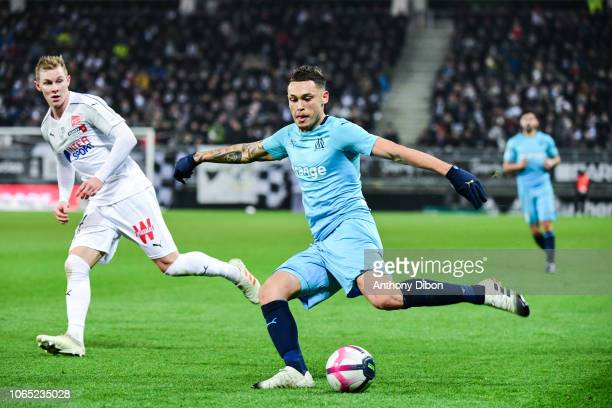 Emil Krafth of Amiens and Lucas Ocampos of Marseille during the Ligue 1 match between Amiens and Marseille at Stade de la Licorne on November 25 2018...