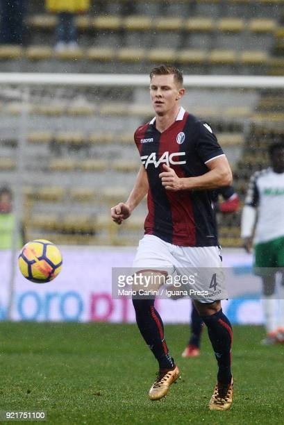 Emil Krafth of Bologna FC in action during the serie A match between Bologna FC and US Sassuolo at Stadio Renato Dall'Ara on February 18 2018 in...