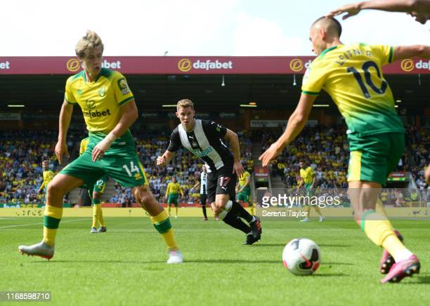 Emil Krafth of Newcastle United during the Premier League match between Norwich City and Newcastle United at Carrow Road on August 17, 2019 in...