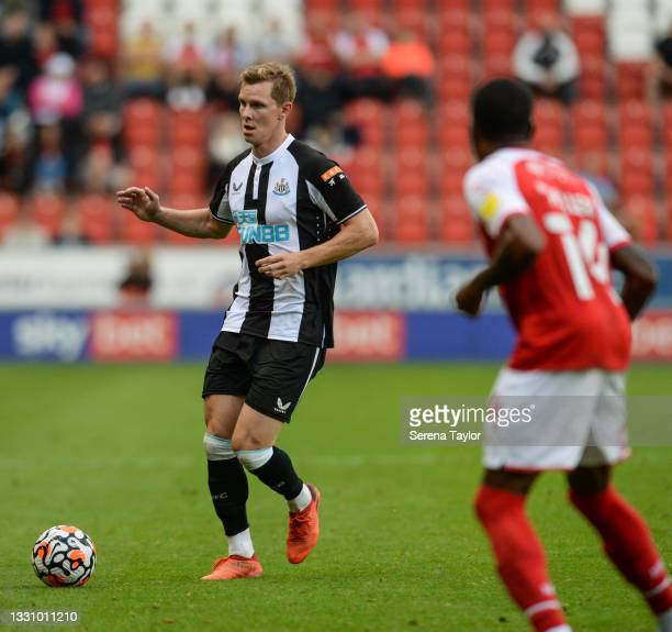 Emil Krafth of Newcastle United FC passes the ball during the Pre Season Friendly between Rotherham United and Newcastle United at AESSEAL New York...