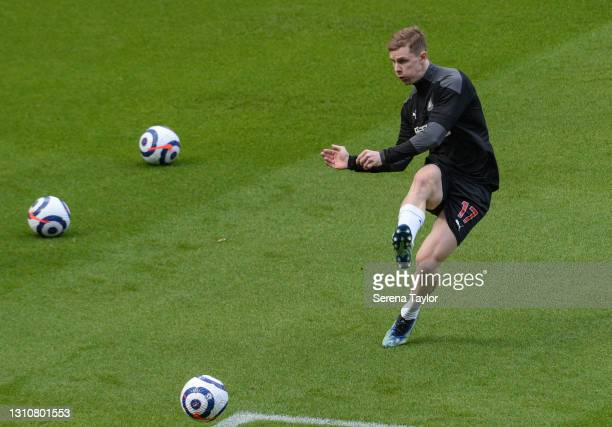Emil Krafth of Newcastle United FC warms up during the Premier League match between Newcastle United and Tottenham Hotspur at St. James Park on April...