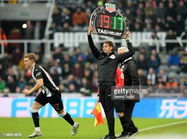 Emil Krafth of Newcastle United replaces Javier Manquillo during the Premier League match between Newcastle United and Leicester City at St James...