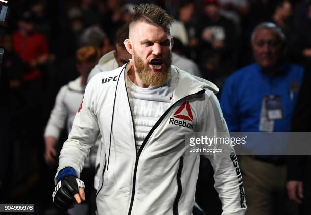Emil Meek of Norway prepares to enter the Octagon before facing Kamaru Usman of Nigeria in their welterweight bout during the UFC Fight Night event...