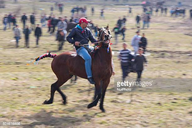 Emil Mirat riding his horse Vasko bareback during an annual horse festival called Horse Easter in Sofia Bulgaria His son is also named Vasko...