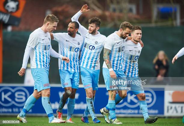 Emil Nielsen of FC Roskilde celebrates after scoring their first goal during the danish NordicBetLigaen 1 division match between FC Roskilde and...