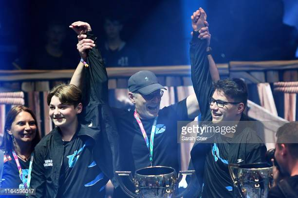 "Emil ""Nyhrox"" Bergquist Pedersen and Thomas ""Aqua"" Arnould react after winning the Duos competition during day two of the Fortnite World Cup Finals..."