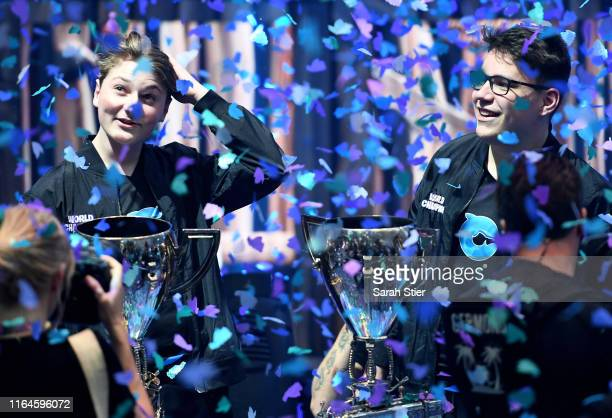 Emil Nyhrox Bergquist Pedersen and Thomas Aqua Arnould react after winning the Duos competition during day two of the Fortnite World Cup Finals at...