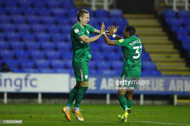 Emil Riis Jakobsen of Preston North End celebrates after scoring his sides second goal with team mate Scott Sinclair during the Sky Bet Championship...
