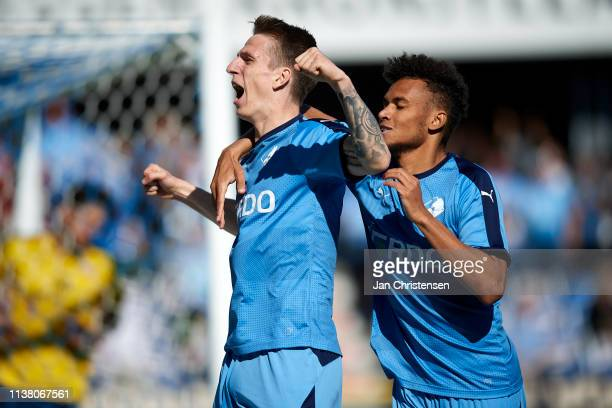 Emil Riis Jakobsen of Randers FC and Marvin Egho of Randers FC celebrate after the 10 goal from Emil Riis Jakobsen during the Danish Superliga match...
