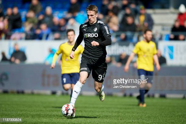 Emil Riis Jakobsen of Randers FC controls the ball during the Danish Superliga match between Hobro IK and Randers FC at DS Arena on April 14 2019 in...
