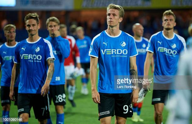 Emil Riis Jakobsen of Randers FC $dewja$ the Danish Superliga match between Randers FC and Brondby IF at BioNutria Park on July 16 2018 in Randers...