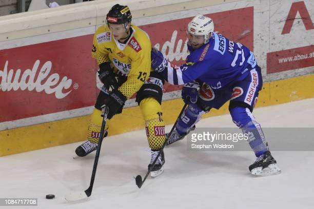 Emil Romig of Vienna and Bernd Wolf of Villach during the Vienna Capitals v EC VSV Erste Bank Eishockey Liga at Erste Bank Arena on January 18 2019...