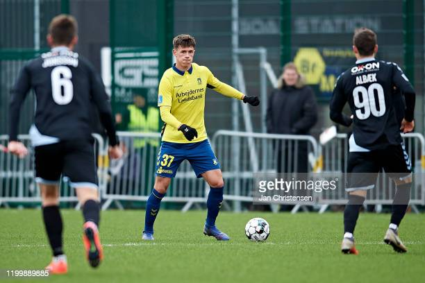 Emil Staugaard of Brondby IF in action during the testmatch between Brondby IF and SonderjyskE at Brondby Stadion on February 10, 2020 in Brondby,...