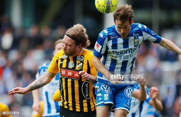 Emil Wahlstrom of BK Hacken and Emil Salomonsson of IFK Goteborg competes for the ball during the Allsvenskan match between IFK Goteborg and BK...