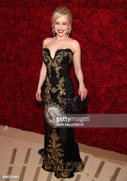 Emila Clarke attends the Heavenly Bodies Fashion The Catholic Imagination Costume Institute Gala at The Metropolitan Museum of Art on May 7 2018 in...