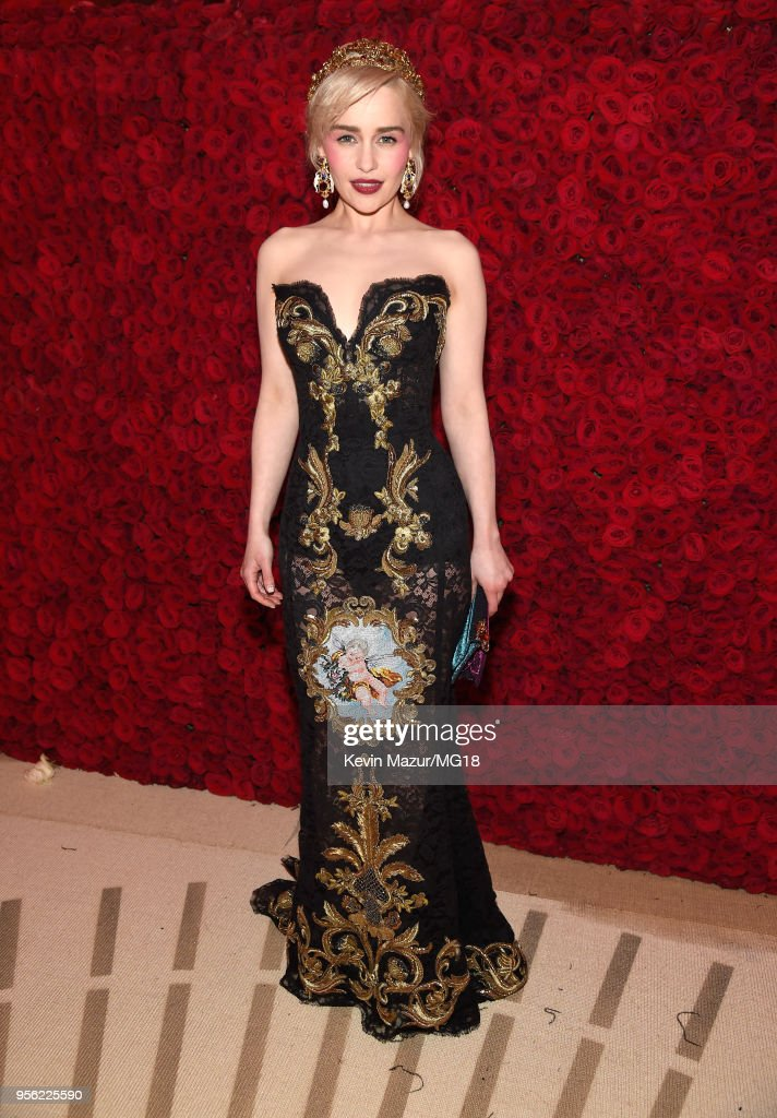Emila Clarke attends the Heavenly Bodies: Fashion & The Catholic Imagination Costume Institute Gala at The Metropolitan Museum of Art on May 7, 2018 in New York City.