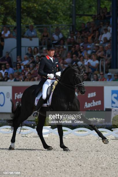 Emile Faurie of England riding Hello Delatio during the dressage individual Final Grand Prix of Aachen Freestyle to music CDIO Deutsche Bank Prize in...