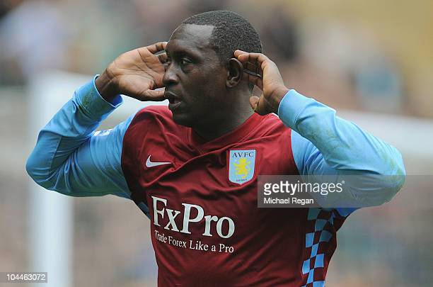 Emile Heskey of Aston Villa celebrates scoring to make it 21 during the Barclays Premier League match between Wolverhampton Wanderers and Aston Villa...