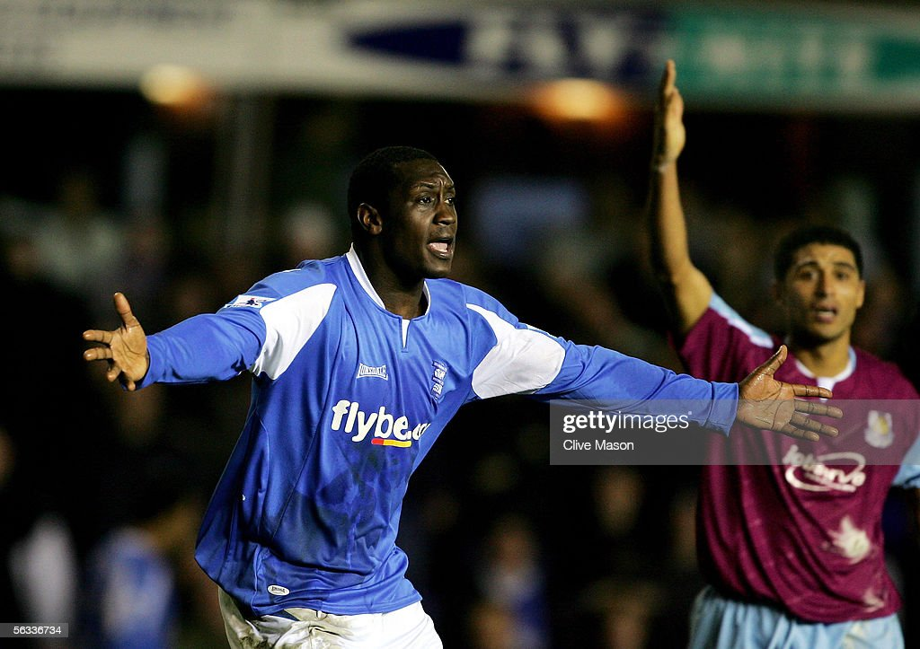 Emile Heskey of Birmingham City shows his despair after a disallowed goal during the Barclays Premiership match between Birmingham City and West Ham United at St Andrews Road on December 5, 2005 in Birmingham, England.