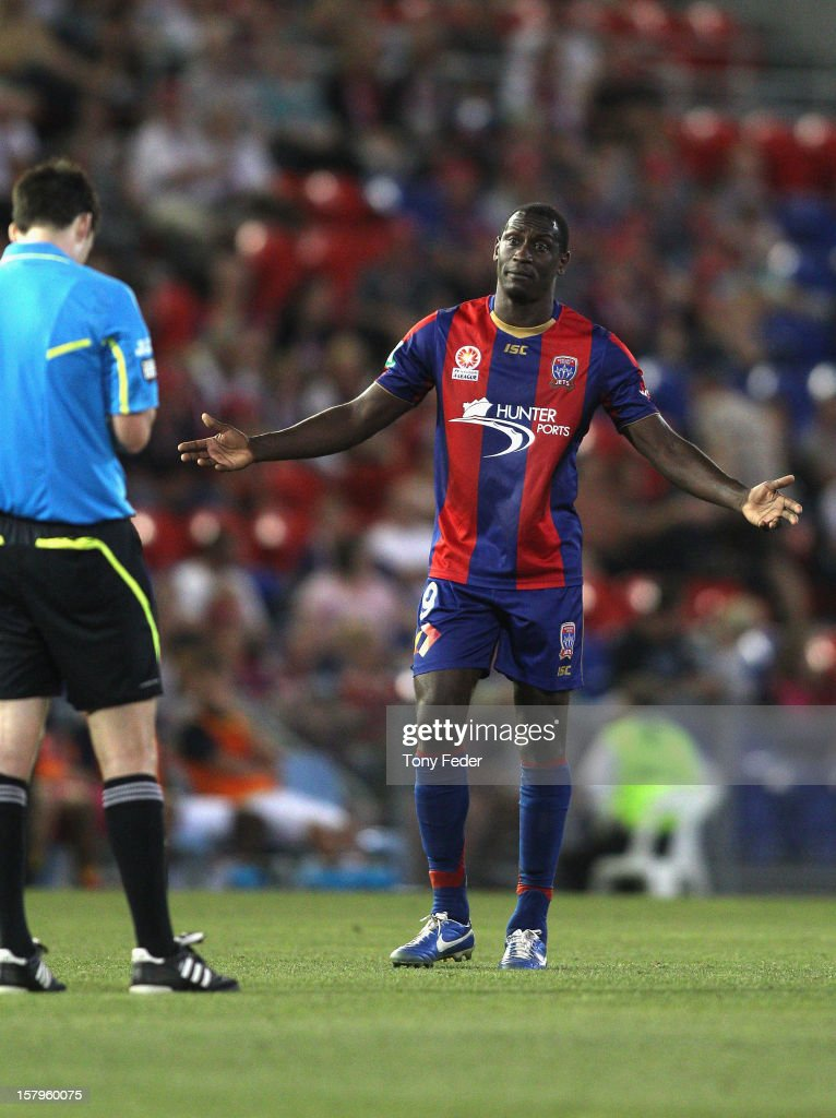 Emile Heskey of the Jets appeals to the referee during the round ten A-League match between the Newcastle Jets and the Central Coast Mariners at Hunter Stadium on December 8, 2012 in Newcastle, Australia.