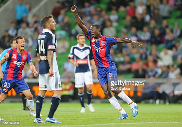 Emile Heskey of the Jets celebrates after scoring a goal during the round 13 ALeague match between the Melbourne Victory and the Newcastle Jets at...