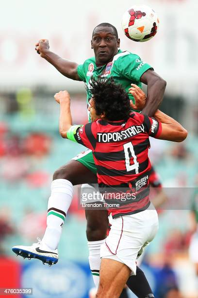 Emile Heskey of the Jets competes with Nikolai ToporStanley of the Wanderers during the round 21 ALeague match between the Western Sydney Wanderers...