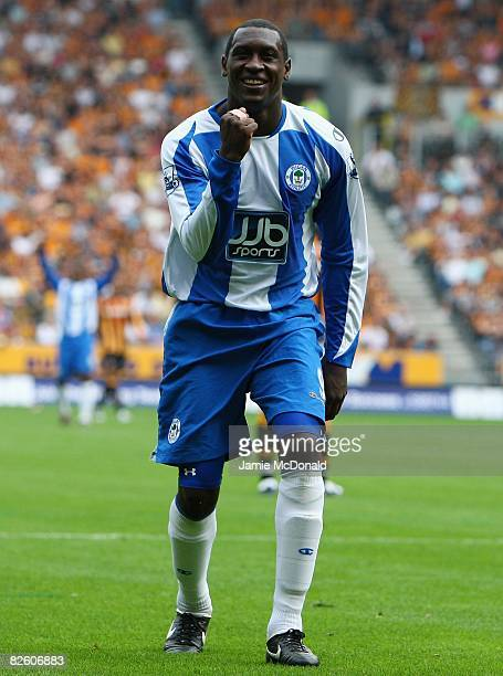 Emile Heskey of Wigan celebrates his goal during the Barclays Premier League match between Hull Ciy and Wigan Athletic at the KC Stadium on August 30...