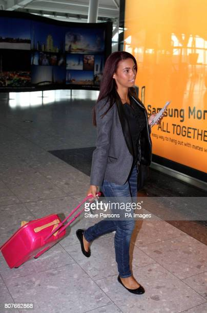 Emile Heskey's fiancee Chantelle Tagoe checks in at Heathrow Airport before flying to South Africa this evening